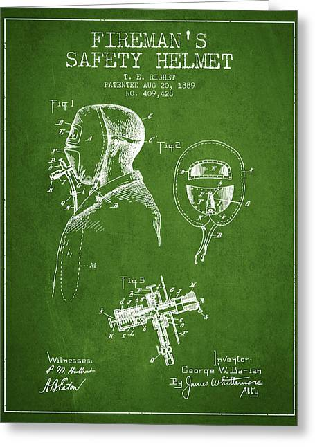 Firemen Art Greeting Cards - Firemans Safety Helmet Patent from 1889 - Green Greeting Card by Aged Pixel
