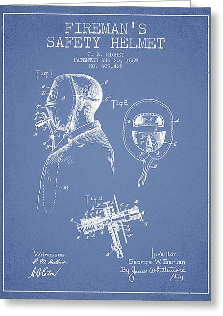 Grunge Drawings Greeting Cards - Firemans Safety Helmet Patent from 1889 - Light Blue Greeting Card by Aged Pixel
