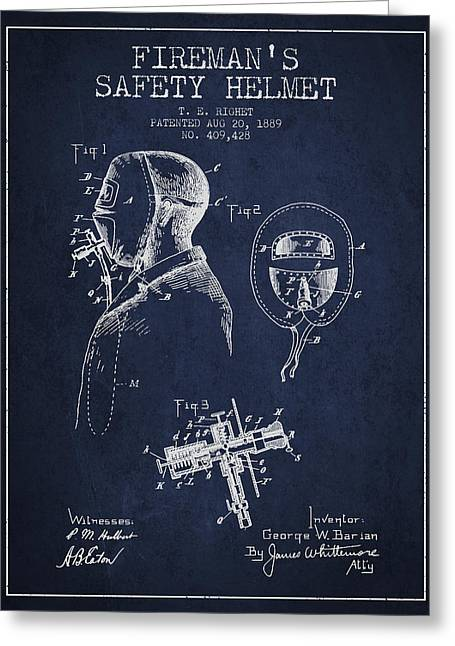 Firemen Art Greeting Cards - Firemans Safety Helmet Patent from 1889 - Navy Blue Greeting Card by Aged Pixel
