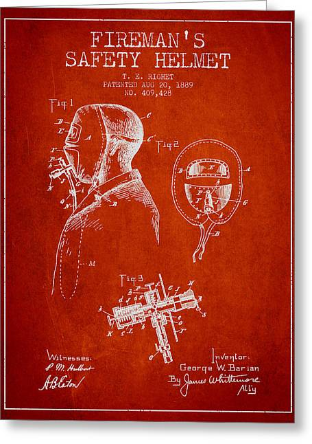 Firemen Art Greeting Cards - Firemans Safety Helmet Patent from 1889 - Red Greeting Card by Aged Pixel