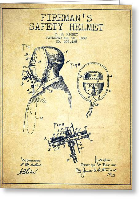 Firemen Art Greeting Cards - Firemans Safety Helmet Patent from 1889 - Vintage Greeting Card by Aged Pixel