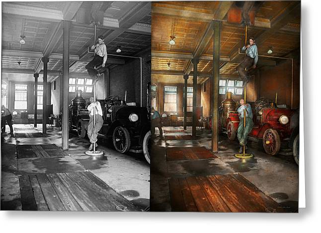 Brigade Greeting Cards - Firemen - Answering the firebell 1922 - Side by side Greeting Card by Mike Savad