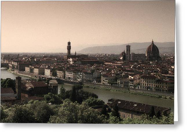 Best Sellers -  - Tuscan Sunset Greeting Cards - Firenze at Sunset Greeting Card by Andrew Soundarajan