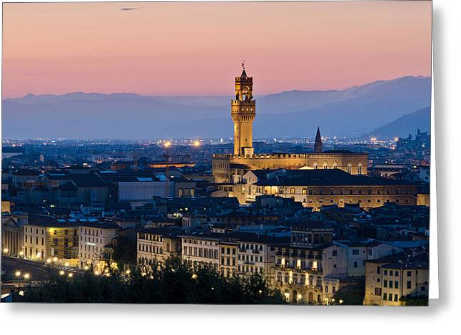 Michelangelo Greeting Cards - Firenze at Sunset Greeting Card by Pablo Lopez