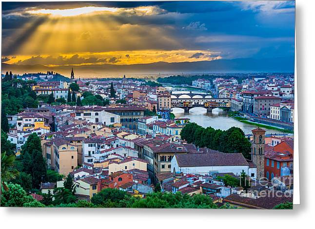 Arno Greeting Cards - Firenze Sunset Greeting Card by Inge Johnsson