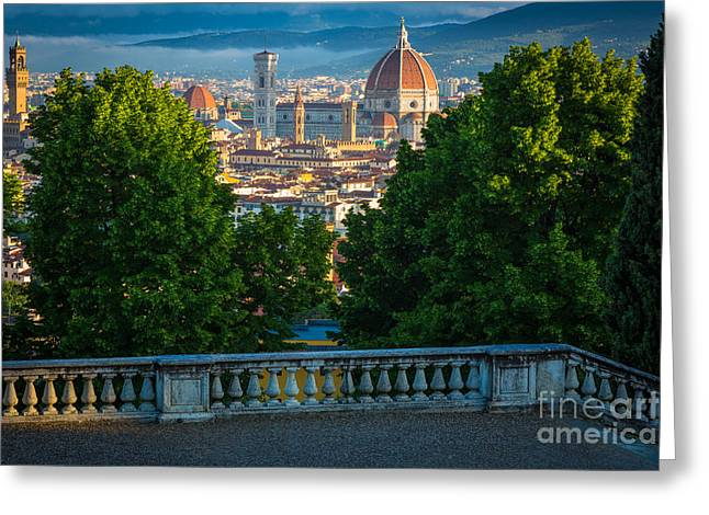 Florence Greeting Cards - Firenze Vista Greeting Card by Inge Johnsson