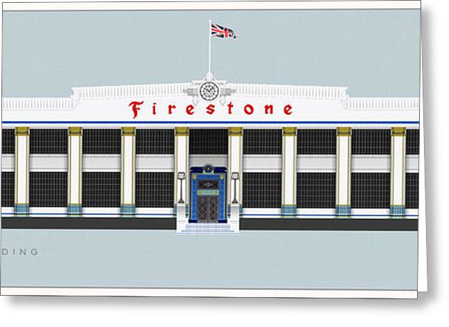 White Drawings Greeting Cards - Firestone Building London Greeting Card by Justin Fagence