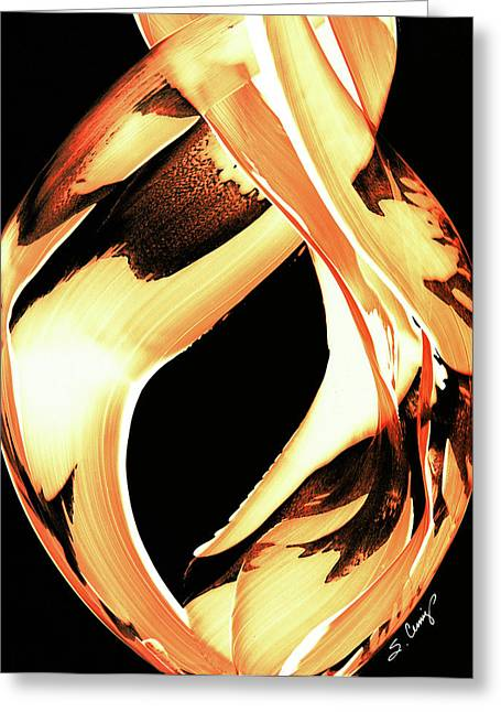Warmth Greeting Cards - FireWater 1 - Buy Orange Fire Art Prints Greeting Card by Sharon Cummings