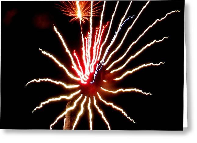 Pyrotechnics Greeting Cards - Firework Tarantula Greeting Card by Adrienne Wilson