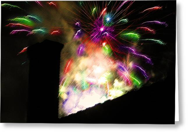 4th July Digital Greeting Cards - Fireworks - Over the Rooftop 2 Greeting Card by Steve Ohlsen