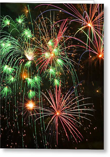 Celebrate Photographs Greeting Cards - Fireworks 4th of July Greeting Card by Garry Gay