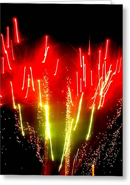 Hilliard Greeting Cards - Fireworks Abstraction 6 Greeting Card by Beth Akerman