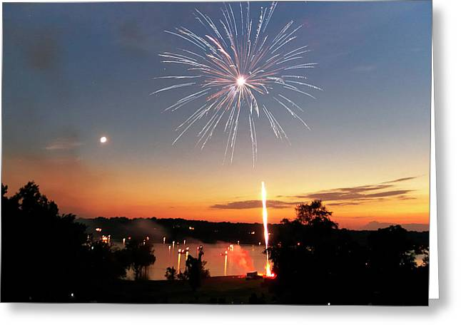 Sillouette Greeting Cards - Fireworks and Sunset Greeting Card by Amber Flowers