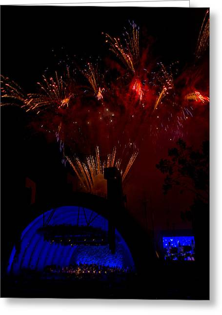 Hollywood Bowl Greeting Cards - Fireworks and the Bowl Greeting Card by Mitchell Christopher