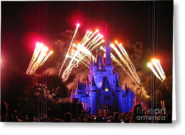 Amusements Greeting Cards - Fireworks at Disney World Castle Greeting Card by John Malone