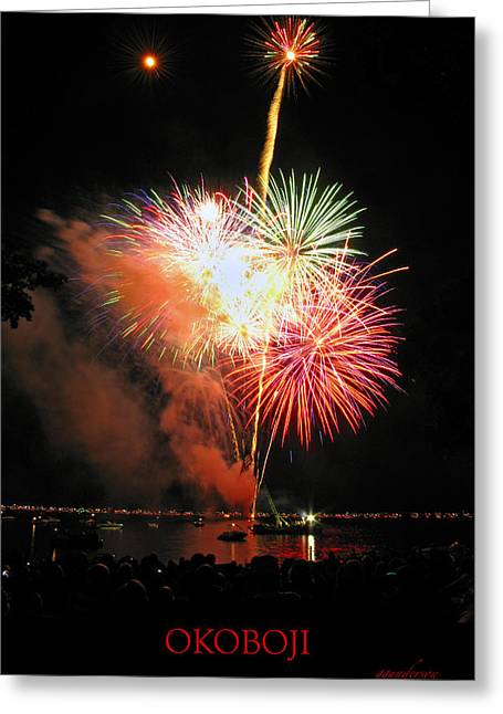 Okoboji Greeting Cards - Fireworks at Lake Okoboji Greeting Card by Gary Gunderson