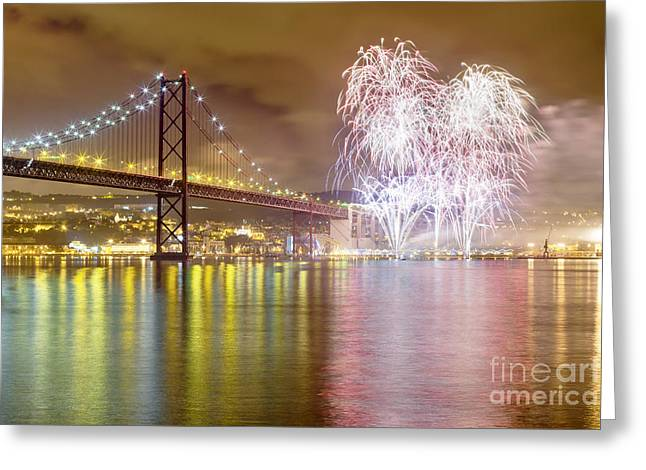 Pyrotechnics Greeting Cards - Fireworks at New Years Eve in Lisbon Greeting Card by Andre Goncalves