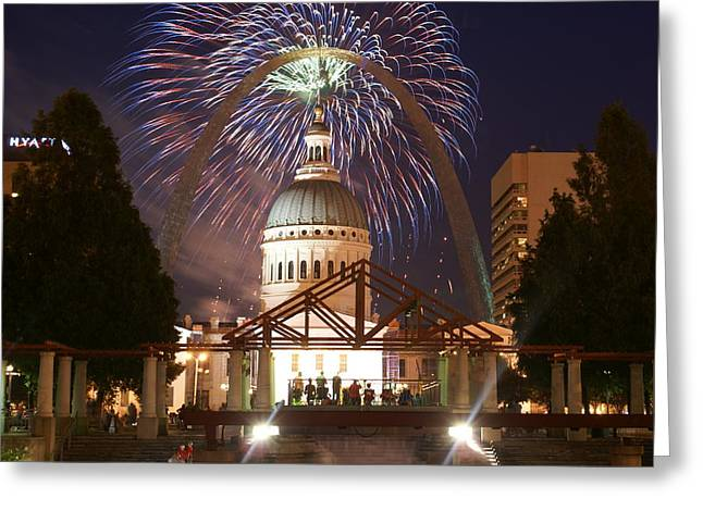 Arch Glass Greeting Cards - Fireworks at the Arch 1 Greeting Card by Marty Koch