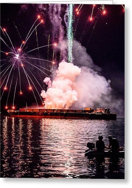 4th July Greeting Cards - Fireworks Barge Greeting Card by Islander Images