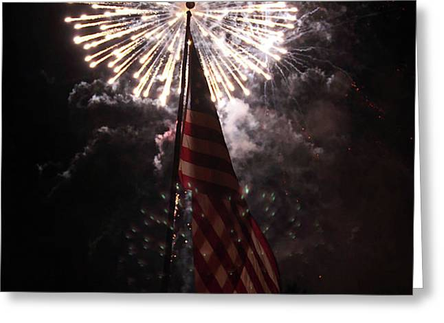 Fireworks behind American Flag Greeting Card by Alan Look