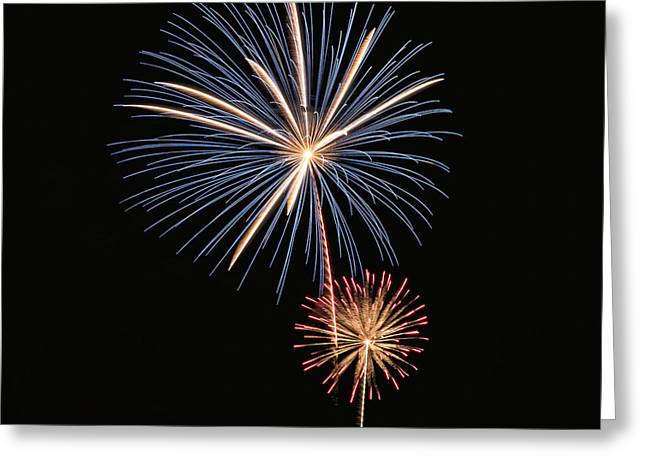 Pyrotechnics Greeting Cards - Fireworks Blue and Gold Greeting Card by Karen Martin