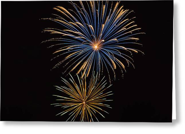 Pyrotechnics Greeting Cards - Fireworks Blue and Gold2 Greeting Card by Karen Martin
