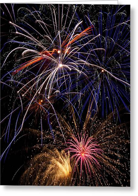 Celebrate Photographs Greeting Cards - Fireworks Celebration  Greeting Card by Garry Gay