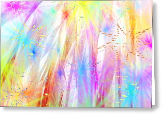 Fireworks Drawings Greeting Cards - Fireworks Display Greeting Card by Belinda Threeths