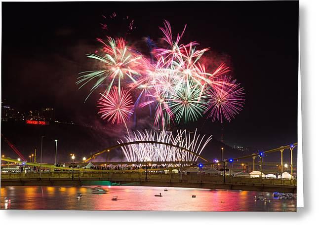 Pittsburgh Skyline.fireworks Greeting Cards - Fireworks  Greeting Card by Emmanuel Panagiotakis