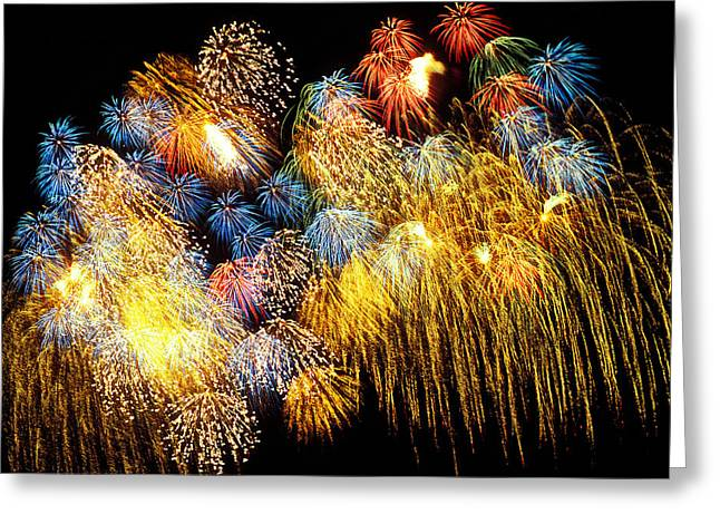 Firework Greeting Cards - Fireworks Exploding  Greeting Card by Garry Gay