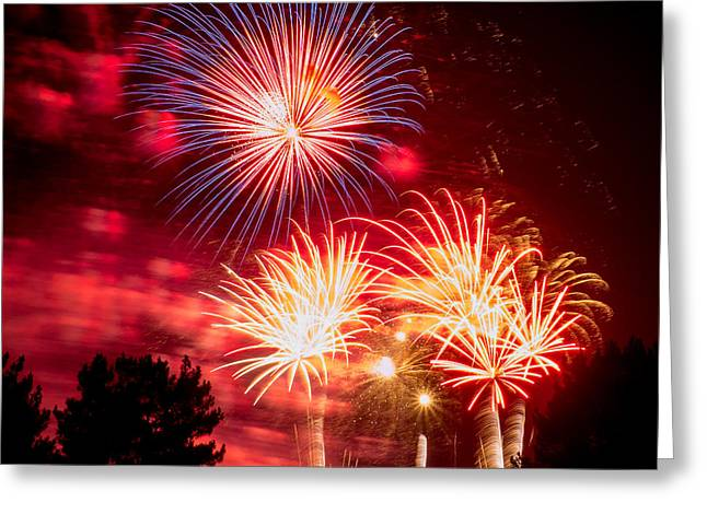 Pyrotechnics Greeting Cards - Fireworks Finale Greeting Card by Karen Martin