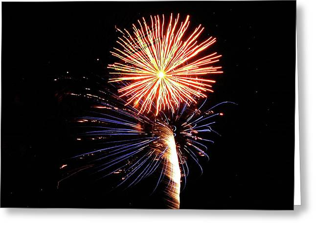 Bottle Rockets Greeting Cards - Fireworks from a Boat - 25 Greeting Card by Jeffrey Peterson