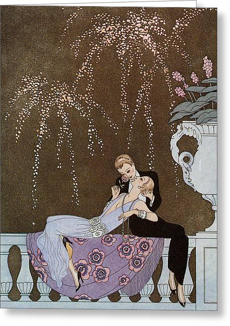 Sit-ins Drawings Greeting Cards - Fireworks Greeting Card by Georges Barbier