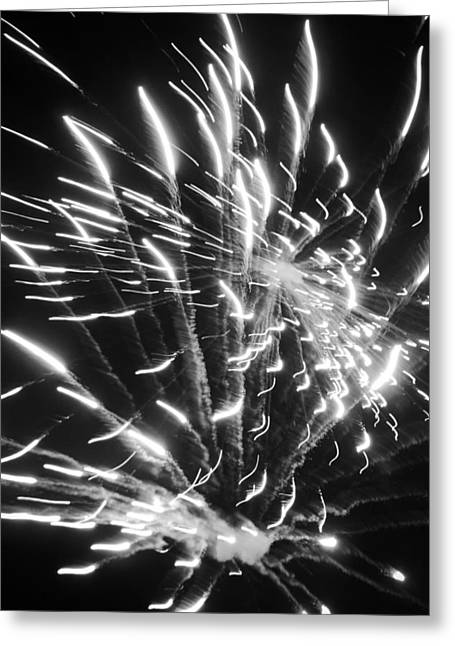 Pyrotechnics Greeting Cards - Fireworks in Black and White 2 Greeting Card by Kelly Hazel
