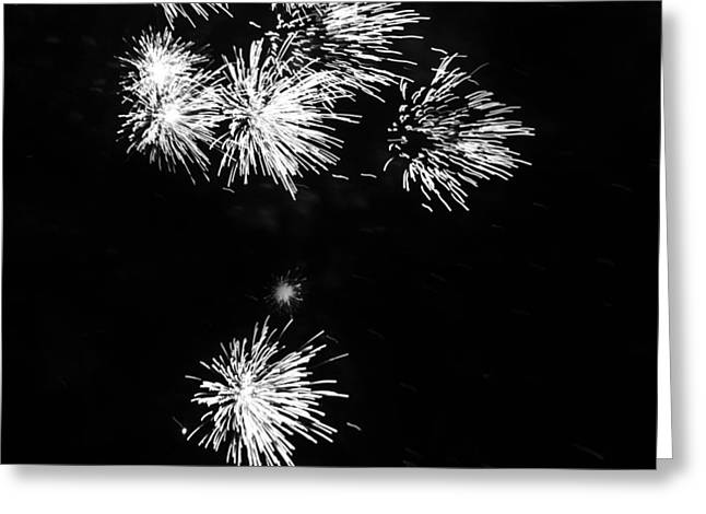 4th July Greeting Cards - Fireworks in Black and White 3 Greeting Card by Kelly Hazel