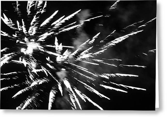 Pyrotechnics Greeting Cards - Fireworks in Black and White 4 Greeting Card by Kelly Hazel