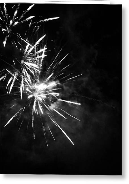 Pyrotechnics Greeting Cards - Fireworks in Black and White 5 Greeting Card by Kelly Hazel