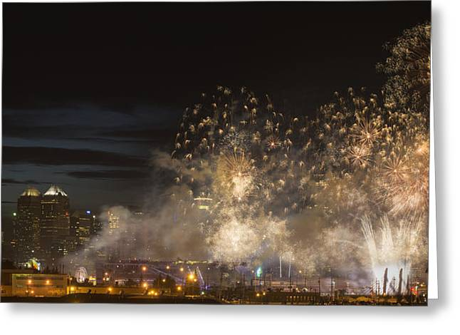 Western Culture Greeting Cards - Fireworks In Front Of Modern City Greeting Card by Philippe Widling