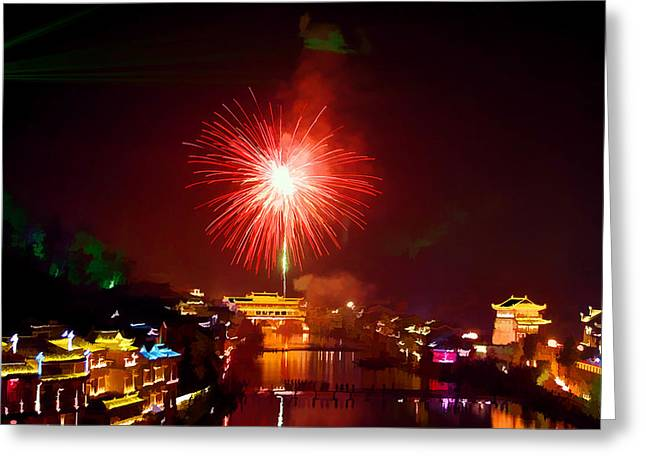 Fenghuang Greeting Cards - Fireworks in Phoenix Greeting Card by Lanjee Chee