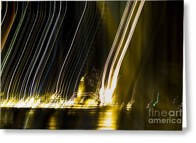 Festivities Greeting Cards - fireworks in Port of Malaga Greeting Card by Perry Van Munster