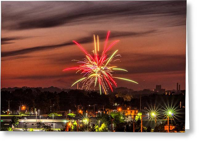 4th July Photographs Greeting Cards - Fireworks - July 4th 2014 Racine Wisconsin - 24 Greeting Card by Chris Tobias