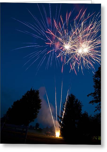 Fireworks Display Greeting Cards - Fireworks Launching And Exploding Greeting Card by Greg Dale