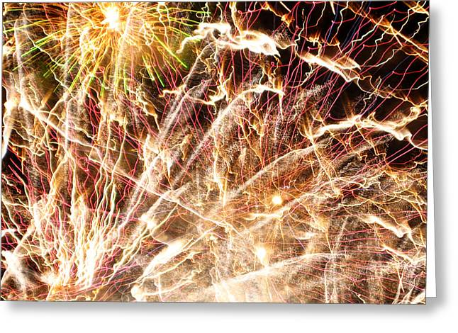 Burst Greeting Cards - Fireworks Greeting Card by Oliver Johnston