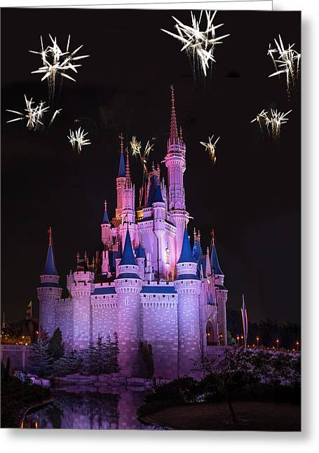 Magic Kingdom Greeting Cards - Fireworks over Cinderellas Castle Greeting Card by Chris Bordeleau