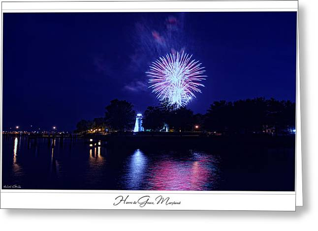 Fireworks over Concord Point Lighthouse Havre de Grace Maryland Prints for Sale Greeting Card by Michael Grubb