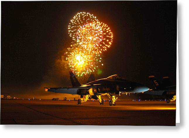 War Memorial Paintings Greeting Cards - Fireworks over FA-18 Hornet US Navy Greeting Card by Celestial Images