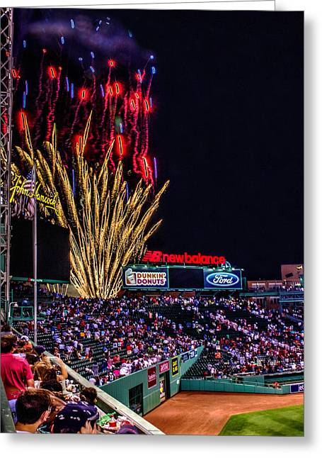 Boston Red Sox Greeting Cards - Fireworks over Fenway 001 Greeting Card by Jeff Stallard
