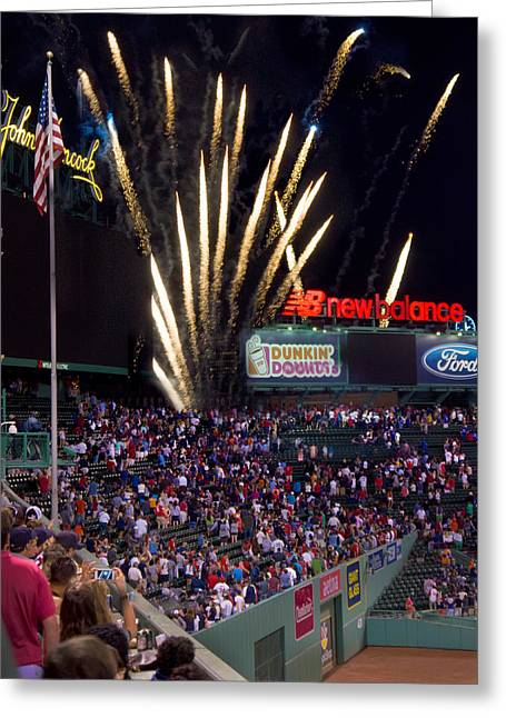 Boston Red Sox Greeting Cards - Fireworks over Fenway 002 Greeting Card by Jeff Stallard
