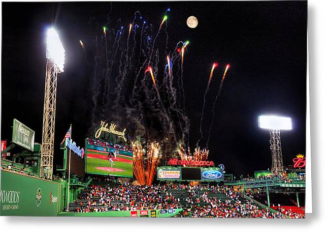 Fireworks Over Fenway Park - Boston Greeting Card by Joann Vitali