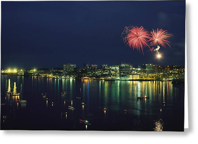 City Lights Greeting Cards - Fireworks Over Halifax Harbor Celebrate Greeting Card by James P. Blair